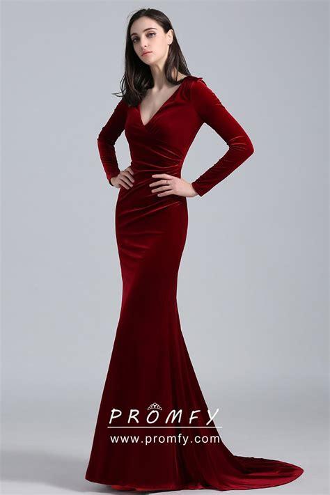 elegant burgundy velvet long sleeve mermaid long celebrity