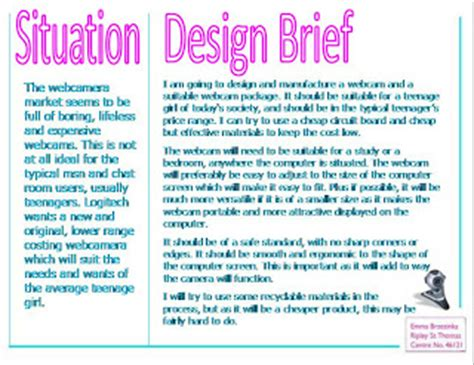 design brief in product design emma s gcse product design situation and design brief