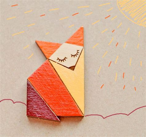 cutting origami wood laser cut brooch orange origami fox