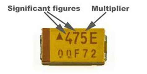 tantalum capacitor color code polarity capacitor codes capacitor markings radio electronics