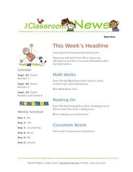 templates for google docs newsletter google docs elementary newsletter template by stephanie