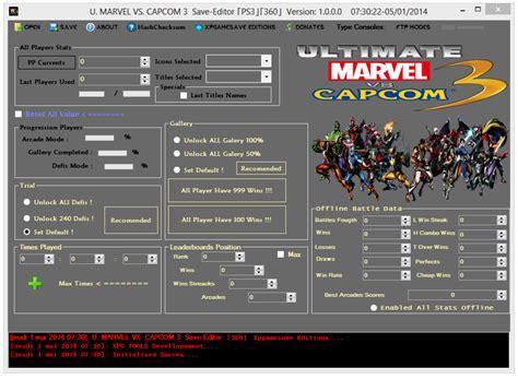 mod xbox game saves ultimate marvel vs capcom 3 save editor xbox 360 ps3 mod