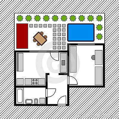 house layout clipart house floor plan with garden stock photography image