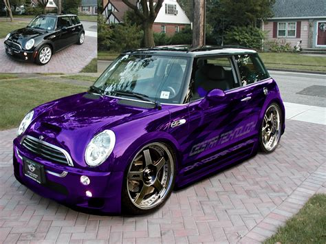 mini cooper s with wide kit bigger wheels stunning purple chrome paint and graphics