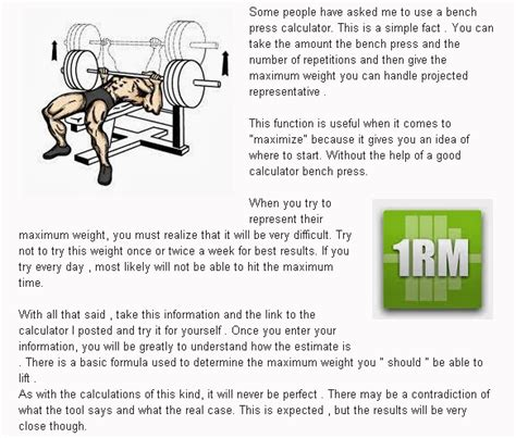 bench press calculater using bench press max calculator the bodybuilder