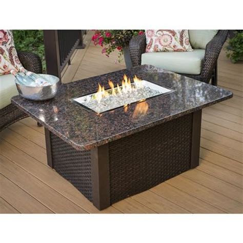 gas table pit grandstone pit table brwn wicker granite top