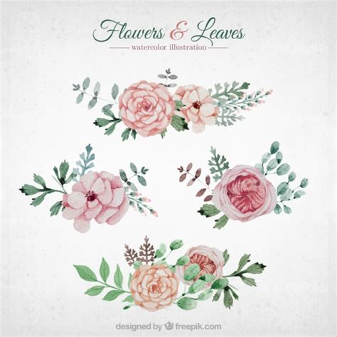 free vector watercolor flowers watercolor flowers and leaves vector free download