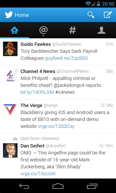 twitter layout app android twitter app updated with quot holo quot style design