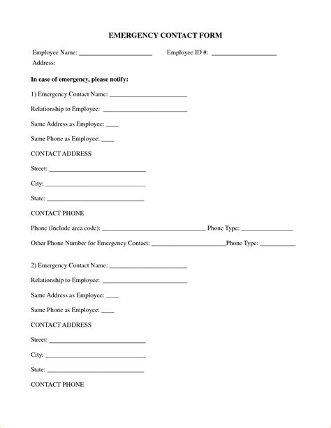 template contact form emergency contact form template vertola