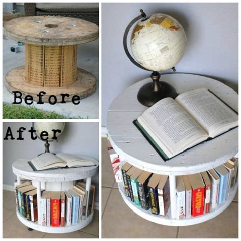 upcycling furniture projects turn a cable spool into a bookshelf awesome upcycle idea