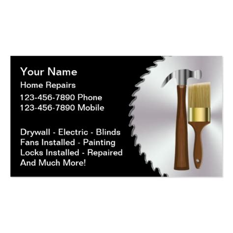 business cards templates for handyman free handyman business card