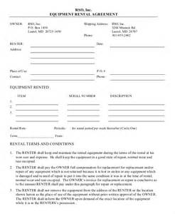 Hire Agreement Template by 12 Equipment Rental Agreement Templates Free Sle