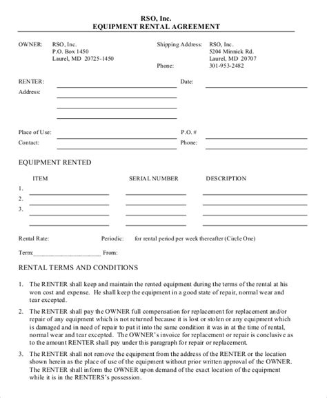 Equipment Rental Agreement Template Free 12 equipment rental agreement templates free sle