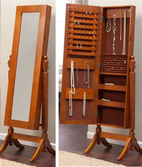 mirror jewelry armoire kohls bedroom nice natural wooden jewelry armoire kohls