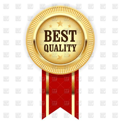 quality clipart golden medal best quality with ribbon royalty free