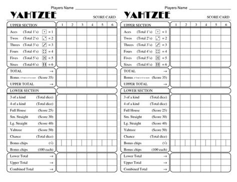 printable score sheets for card games printable triple yahtzee score cards games pinterest