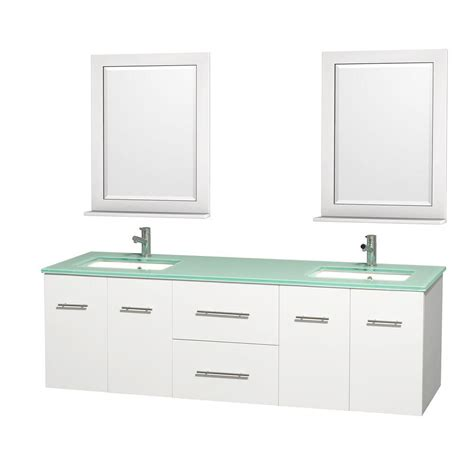 Glass Vanity Tops Wyndham Collection Centra 72 In Vanity In White With Glass Vanity Top In Green Square