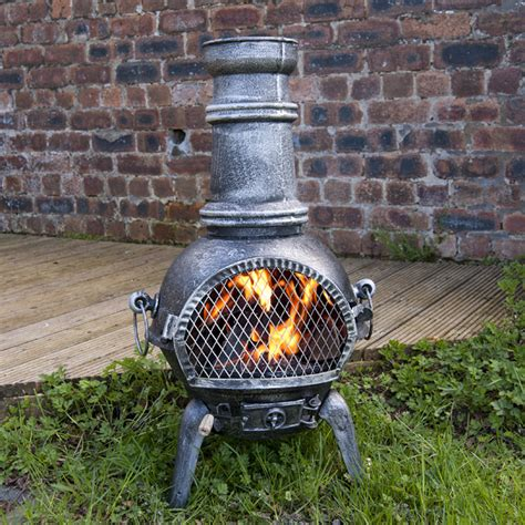 Chiminea With Grill by Greenfingers Rostock Chiminea With Grill Large Silverblack