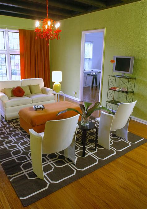 Green And Orange Living Room Decor by Living Space Photos Hgtv
