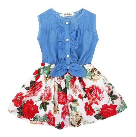 18465 White Flower Denim Skirt מוצר baby summer dress flower denim toddler