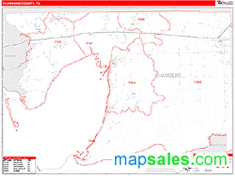 map of chambers county texas chambers county tx zip code wall map line style by marketmaps