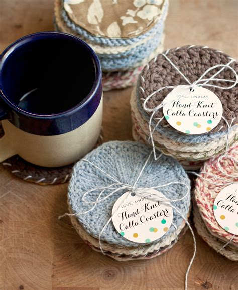 handmade gift idea knitted coasters gift favor ideas
