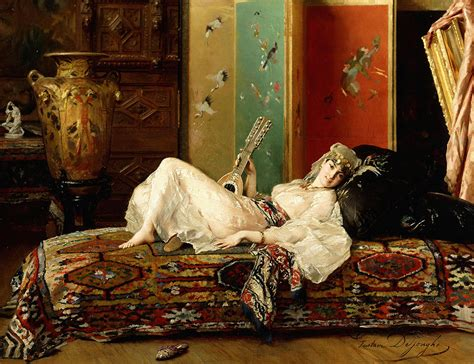 Reclining Odalisque by A Reclining Odalisque Painting By Gustave Leonard De Jonghe