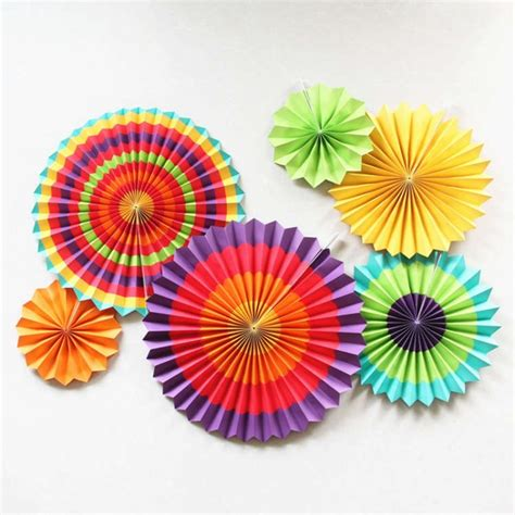How To Make Paper Wheel Decorations - set of 6 colorful pinwheel craft paper fans