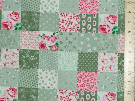 Patchwork Print Fabric - printed patchwork cotton fabric green