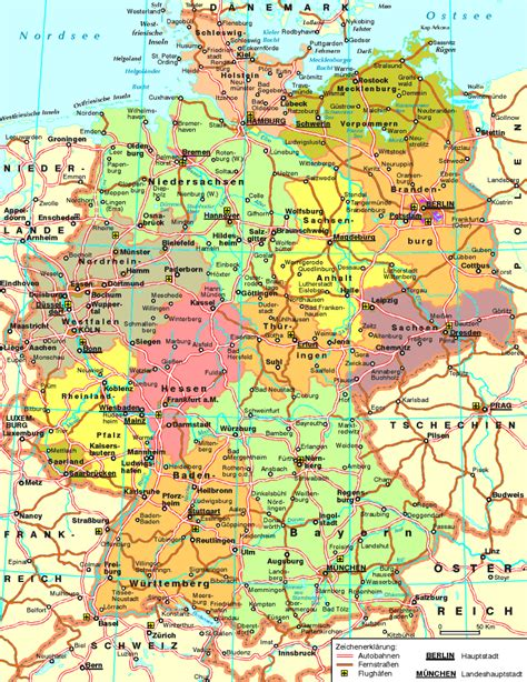map of the germany germany road map size