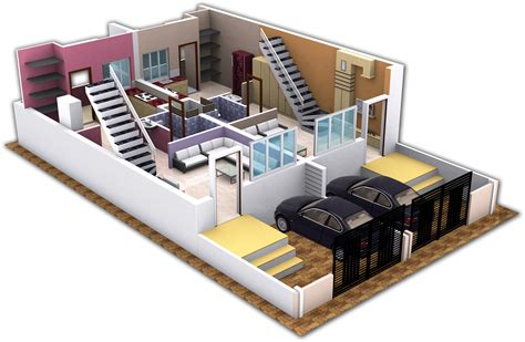 duplex home design plans 3d threed two bedroom duplex modern house