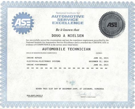 ase certificate from mpg auto service in mountain view ca