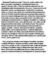 Censorship Of Books In Schools Essay by Essay On Banned Books The Bridge To Terabithia Quotes