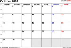 Calendar 2018 October Calendar October 2018 Uk Bank Holidays Excel Pdf Word
