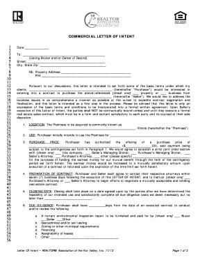 Lease Enforcement Letter Commercial Letter Of Intent To Lease Chicago Association Realtor Fill Printable