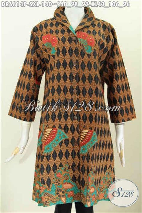 Kemeja Wanita Motif Bunga 287 baju dress batik wanita warna coklat motif bunga kupu