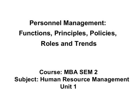 Mba Hrm Means by Mba Ii Hrm U 1 2 Of Personnel Management