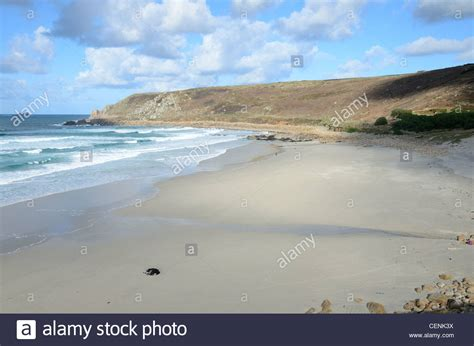 St Just Looking 4 tide out at gwynver between sennen and st just looking stock photo royalty free image