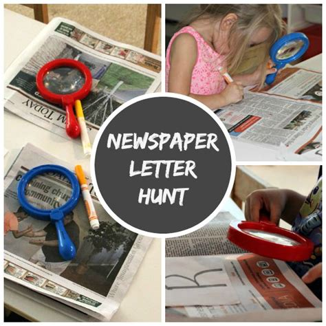 newspaper theme preschool recycled newspaper letter hunt for kids where