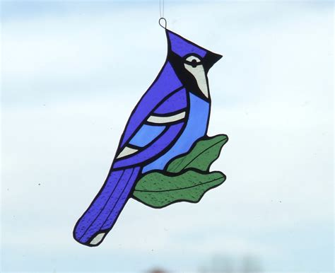 blue jay pattern stained glass blue jay suncatcher