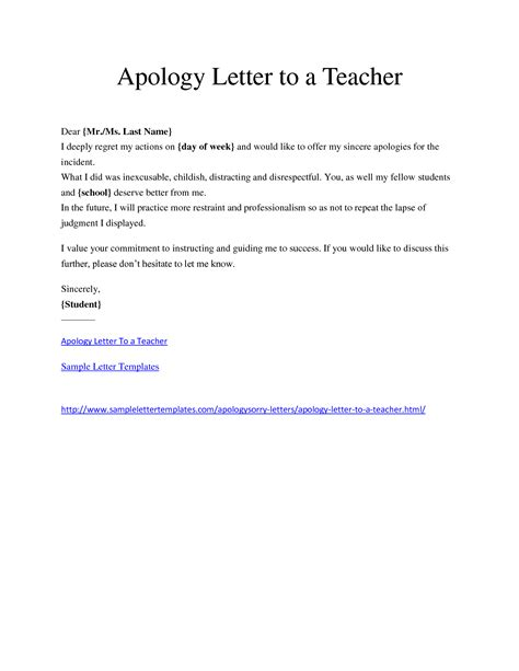 Apology Letter Of Student Minimalist Letter Template Of Apology To For The Incident By Student Thogati