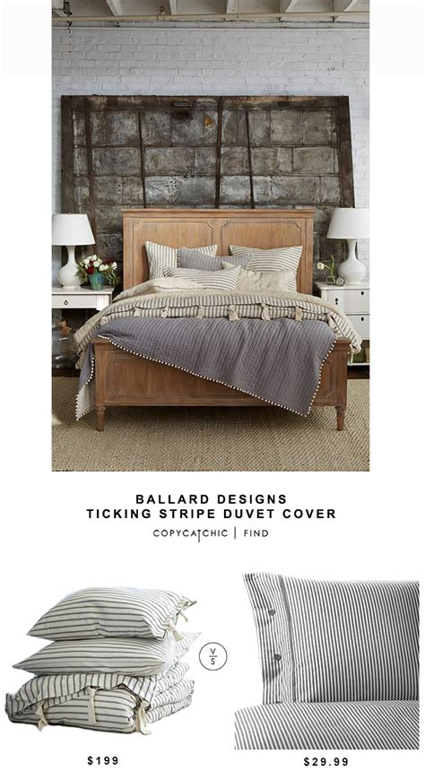 copycat upholstery ballard designs ticking stripe duvet cover copycatchic