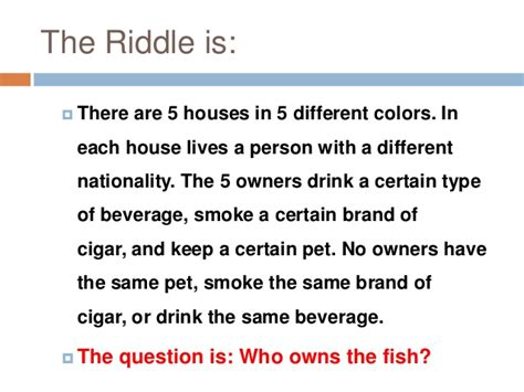 the riddle of the einstein riddle solution