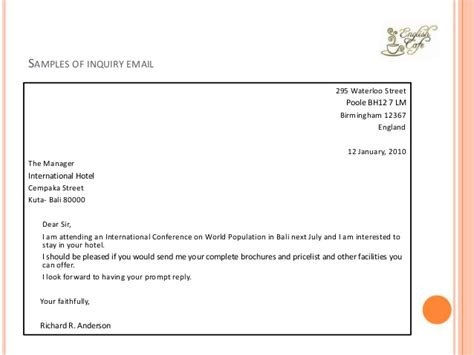 Inquiry Letter To Hotel For Hotel Reservation