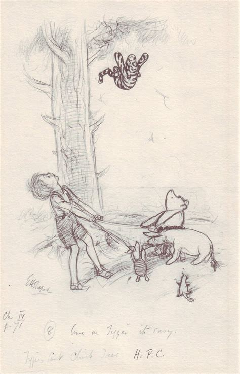 E H Shepard Sketches by Original Stories Winnie The Pooh Pencil Sketches