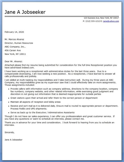 cover letter for receptionist exles receptionist cover letter sle resume downloads