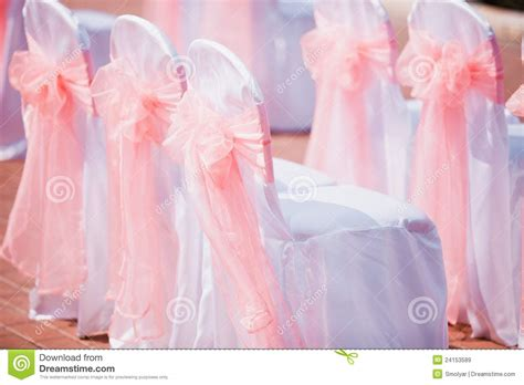 wedding chairs cover with pink bows stock image image