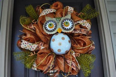 fall owl decorations owl fall autumn wreath decor i want one crafty things