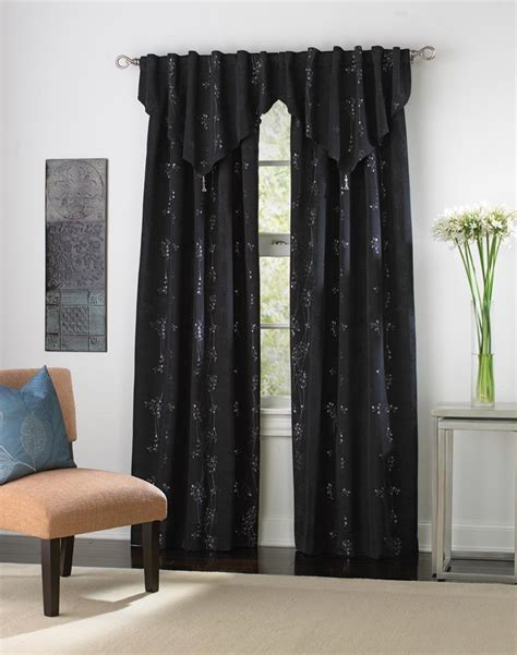 black curtains with valance lurex floral vine window curtain panel curtainworks com