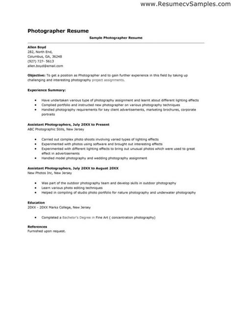 Photographers Resume by Photographer Cover Letter Exles Resume Exles